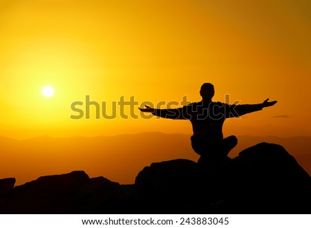 Man on the mountain in the evening. Carpathians. Ukraine. - stock photo