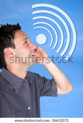 Man on the phone getting a clear signal - stock photo