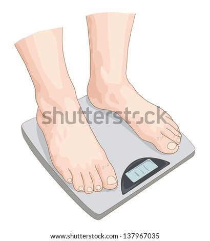 Man on the scale. - stock photo