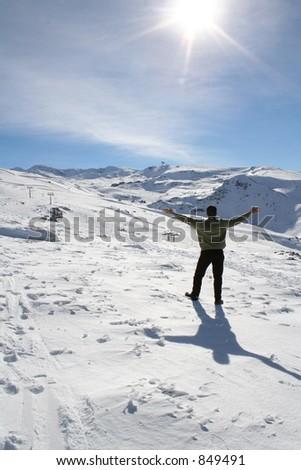 man on the snow - stock photo