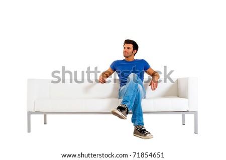 man on the sofa - stock photo