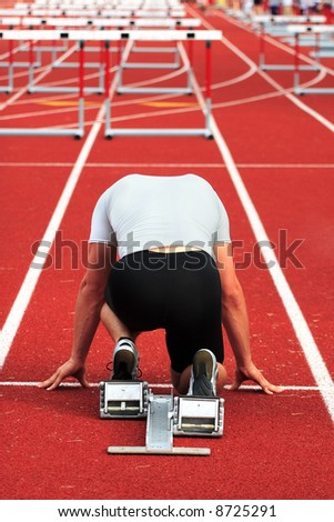 Man on the starting line - stock photo