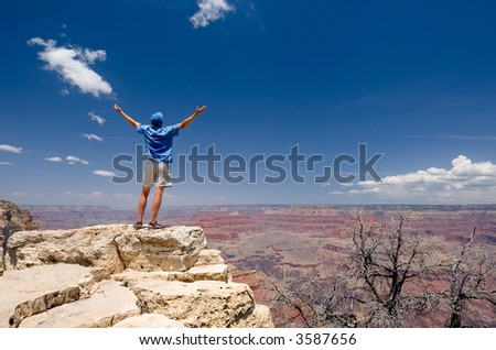Man on the top of the Grand Canyon - stock photo