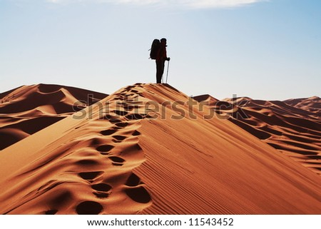 Man on top for sand dune - stock photo