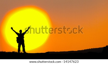 Man on top of the hill - stock photo