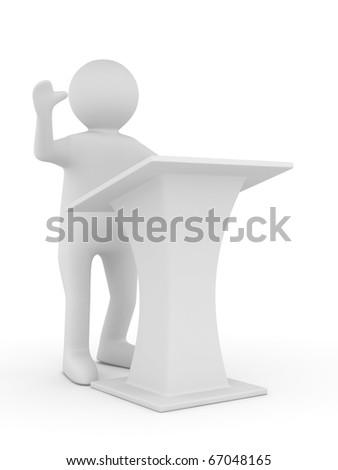 man on tribune. Isolated 3D image on white - stock photo
