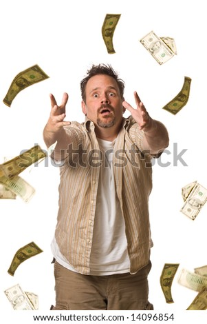 Man on white chasing falling money - stock photo