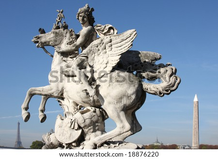 Man on winged horse with Eiffel tower and Cleopatras needle in background, Paris - stock photo