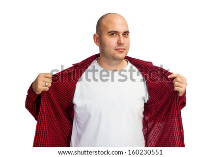 Man opening his red shirt to show his white T-shirt under it