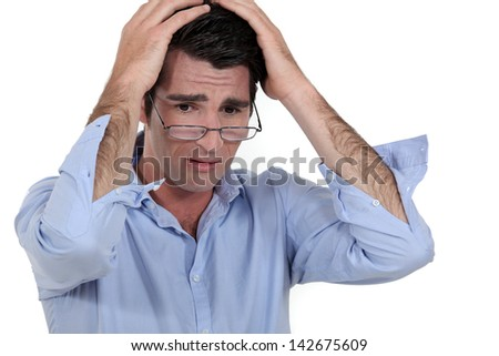 Man out of sorts - stock photo