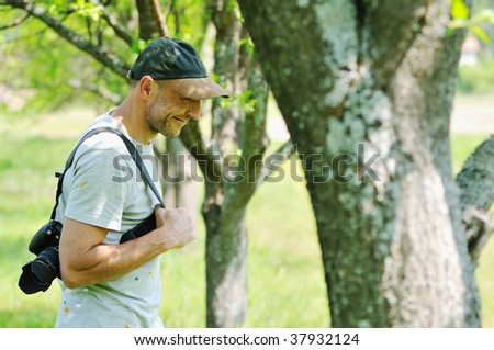 man outdoor in nature walking have relaxation and recreation - stock photo