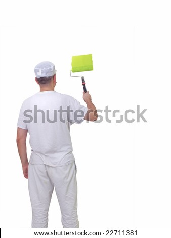 man painting a wall isolated against white background - stock photo