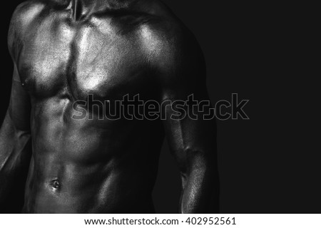 Man pectoral painted in black - stock photo