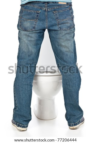 man pee on the toilet - stock photo
