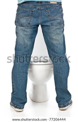 man pee on the toilet - stock photo