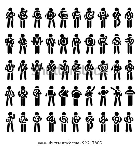 Man People Carrying Holding Alphabet Text from A to Z Icon Symbol Sign Pictogram