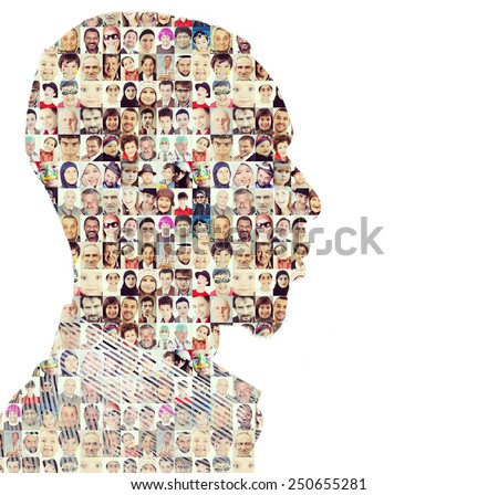 Man people collage faces double exposure - stock photo