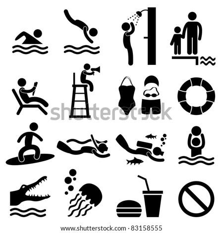 Man People Swimming Pool Sea Beach Sign Symbol Pictogram Icon - stock photo