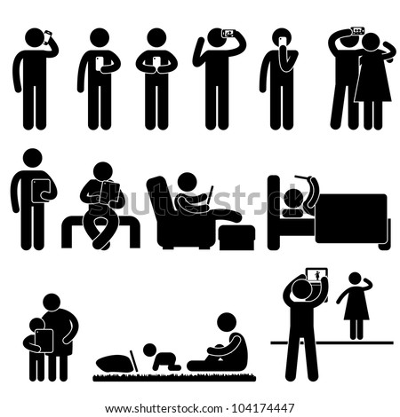 Man People Woman Children using Smartphone and Tablet Icon Symbol Sign Pictogram