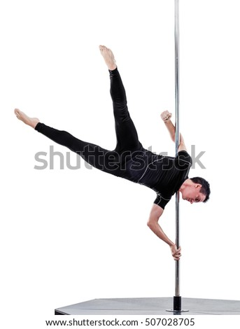 man performing pole dance. Studio shot, on white background, isolated
