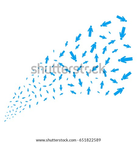Man Person source stream. Raster illustration style is flat blue iconic symbols on a white background. Object stream fountain constructed from random pictograms.