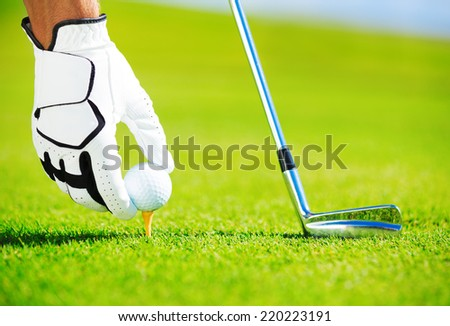 Man Placing Golf Ball on the Tee, Close up Detail  - stock photo