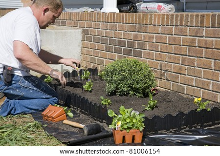 Man planting flowers in garden, dressing up landscape to help sell home - stock photo