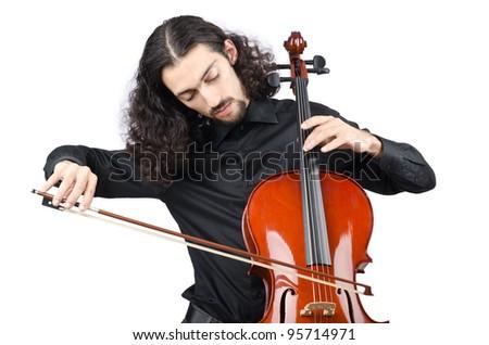 Man playing cello on white - stock photo