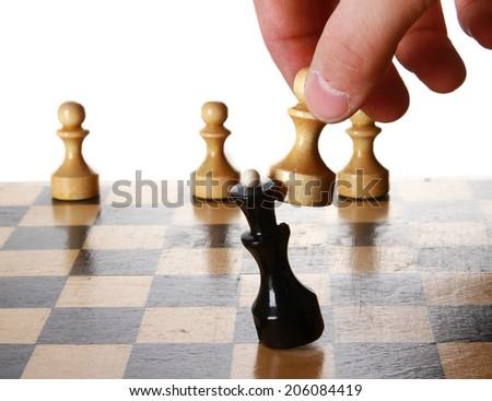 Man playing chess . - stock photo