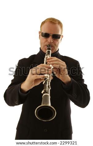 man playing clarinet isolated on white background - stock photo