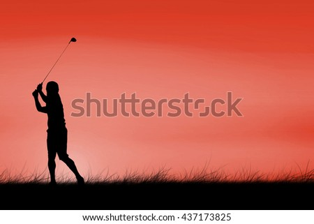 Man playing golf against red sky over grass - stock photo