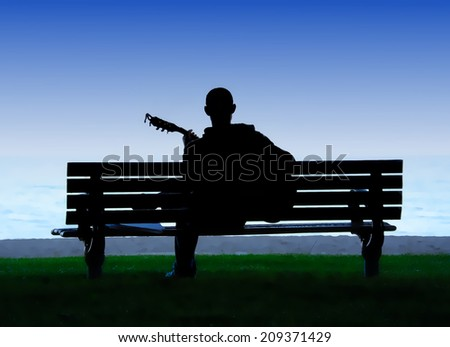 Man playing guitar on park bench illustration - stock photo