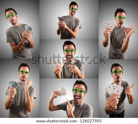 man playing poker with different expression set on grey background