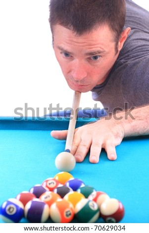 man playing pool age 30s isolated over white - stock photo