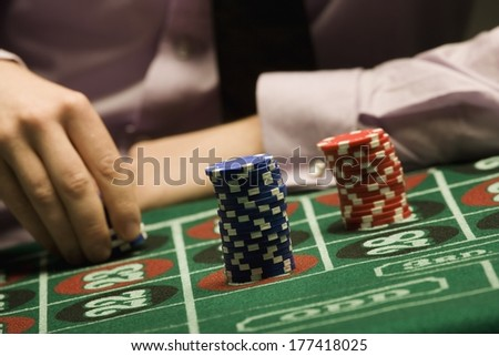 Man Playing Roulette - stock photo