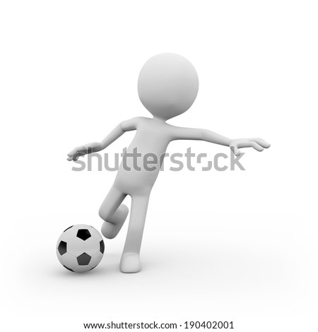 Man playing soccer on white background  - stock photo