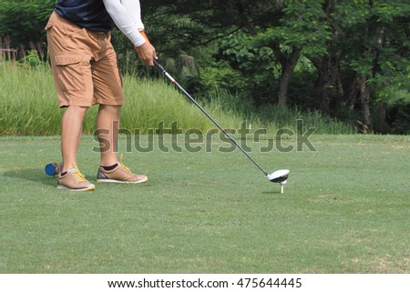 Man playing the golf in sport club