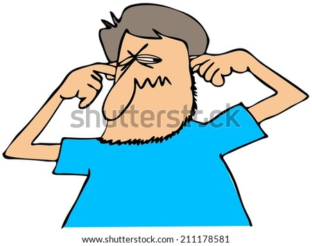 Man plugging his ears - stock photo