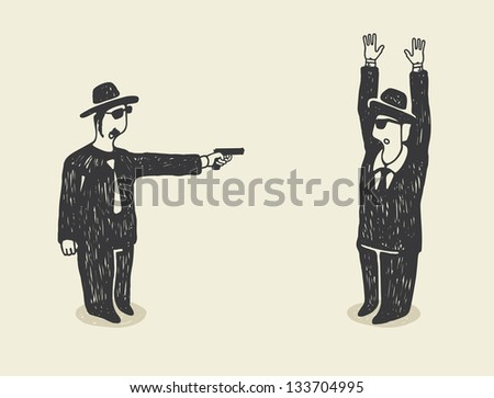 Man Point a Gun on Young Terrorized Businessman. - stock photo