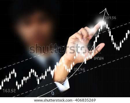 Man point graph - stock photo