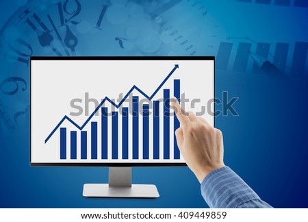 man point virtual screen with diagram business growth on time and document background - stock photo