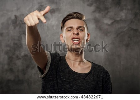 man pointing finger isolated