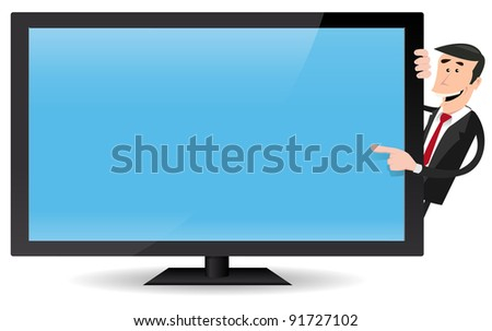 Man Pointing Flat Screen TV/ Illustration of a cartoon businessman pointing a flat screen tv, for advertisement message