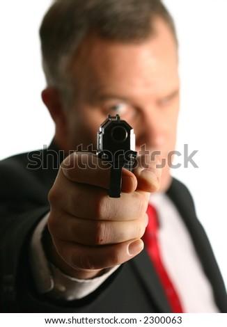 Man Pointing Handgun - stock photo