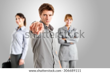 Man pointing his finger to you - stock photo
