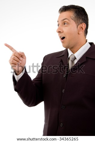 Man pointing on isolated white background - stock photo