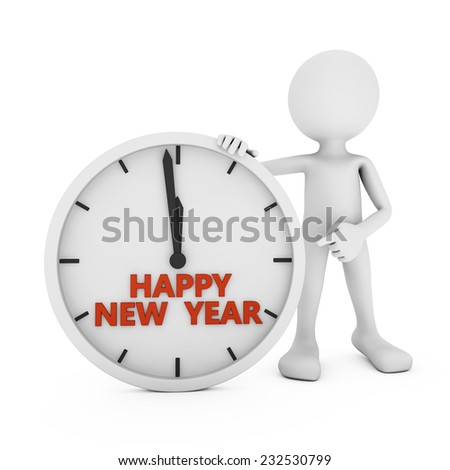 man pointing to the clock with the words Happy New Year