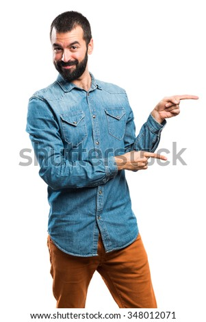 Man pointing to the lateral - stock photo