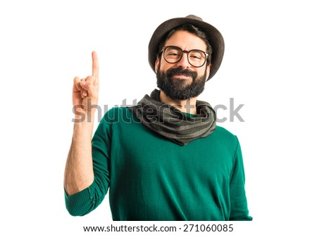 Man pointing up  - stock photo