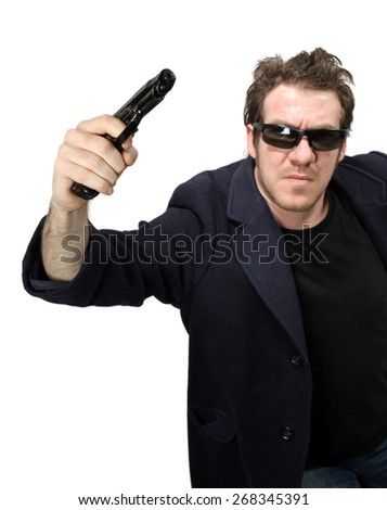 Man pointing with gun
